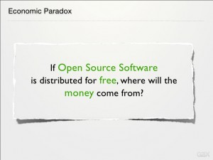 If Open Source Software is distributed for free, where will the money come from?