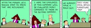 Cartoon showing the absurdity that often occurs in tech company strategic acquisitions and integrations