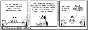 Cartoon showing how little staff development and training goes on in many small tech companies