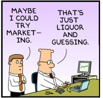 Dilbert cartoon showing the potential contempt between marketing and engineering in tech companies