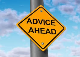 "This image of an ""Advice Ahead"" sign for choosing a software or hardware company advisory board"