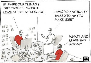 Cartoon showing how developers often develop products with little or now customer/market input