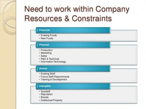 Table showing resources and constraints in software and hardware companies