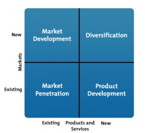 Strategy Graphic showing Ansoff-Matrix and software & hardware diversification danger