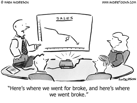 Cartoon describing a bad outcome when prematurely scaling your tech sales force